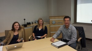 Kaite, Laura, and Andy right before beginning our presentation at the Lumina Foundation.